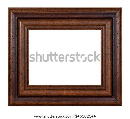 Hazel vintage picture frame isolated on white background. - stock photo