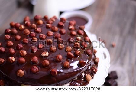 Hazelnut-chocolate cake macro of hazelnut - stock photo
