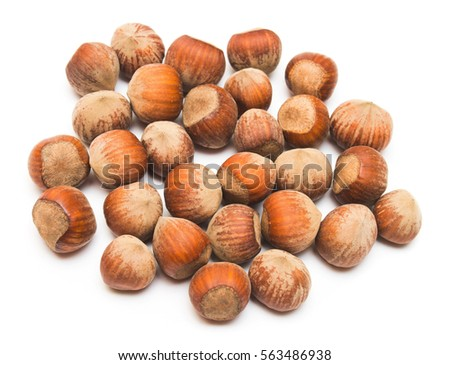 Hazelnut isolated on a white background. Nuts. Flat lay, top view