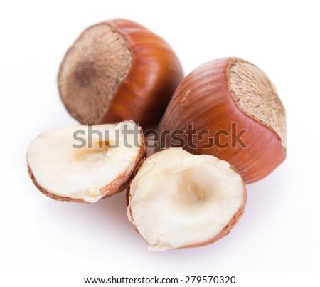 hazelnut isolated on white background - stock photo