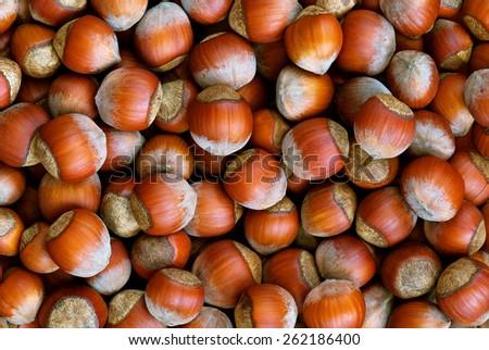 Hazelnuts background - stock photo