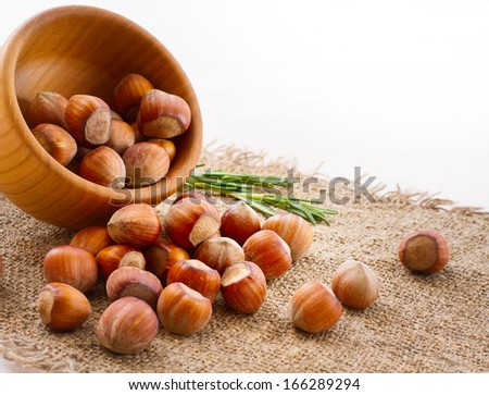 Hazelnuts, filbert on old wooden background closeup - stock photo