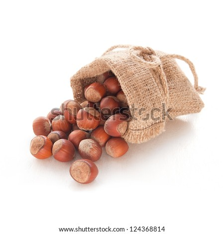 Hazelnuts (filberts) in a bag on the white background - stock photo