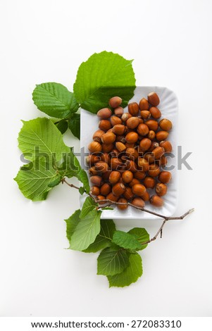 hazelnuts in plate on white. Autumn food.