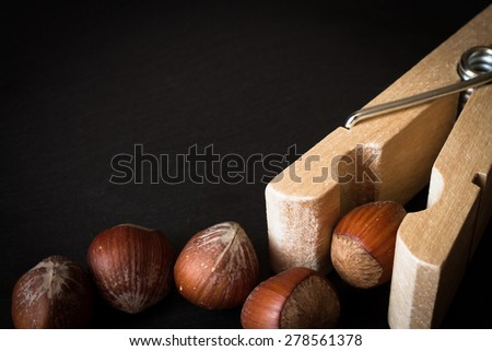 hazelnuts in shell with clothespins on a black background - stock photo