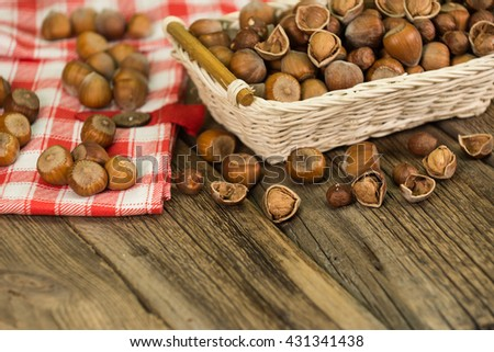 Hazelnuts in small wicker basket