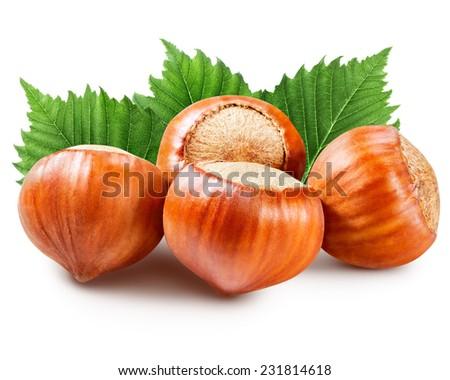 Hazelnuts isolated  - stock photo
