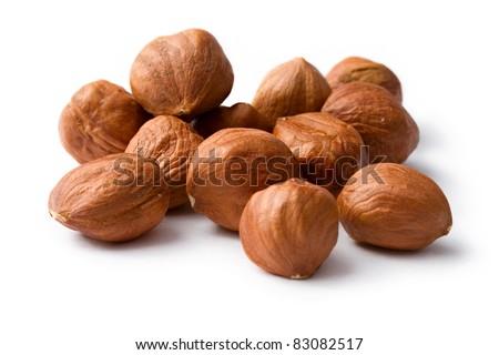 Hazelnuts isolated on the white background - stock photo