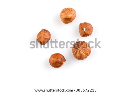Hazelnuts nut isolated on the white background
