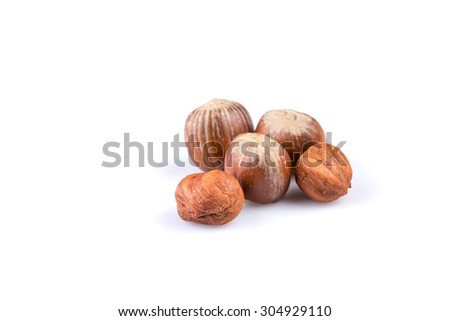 Hazelnuts nuts filberts isolated on white background - stock photo