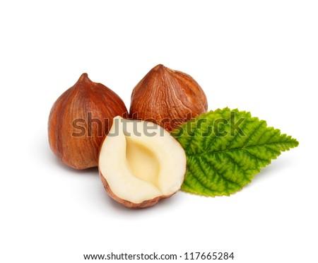 Hazelnuts with leaf isolated on white background - stock photo