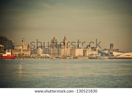Hazy day view of the city of Liverpool - stock photo