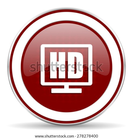 hd display red glossy web icon - stock photo