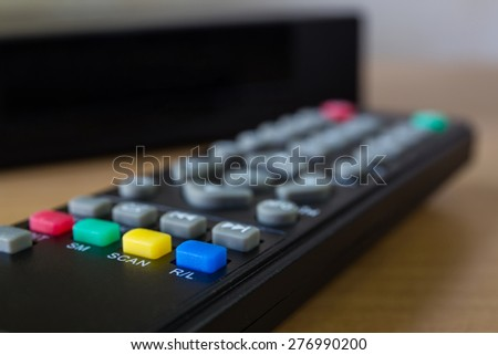 hd player on wood table - stock photo
