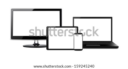 HD Television, modern laptop, tablet and mobile phone (cell phone) with blank screens isolated on a white background - stock photo