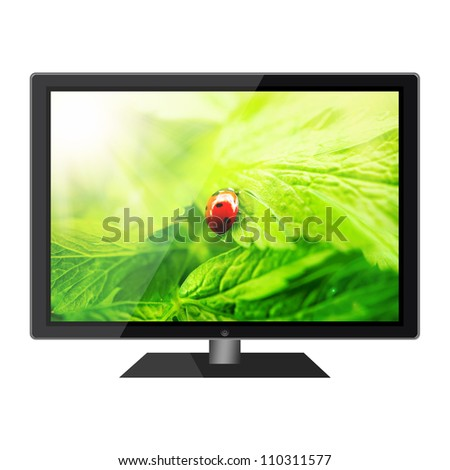 HD tv with nature wallpaper on a screen isolated on white background