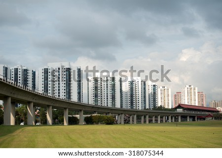 HDB Homes and Transit (MRT) Line in SIngapore - stock photo