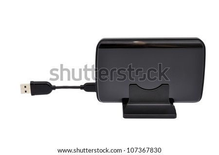 hdd and cable on a white background - stock photo