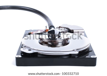 hdd check - computer hard drive and a stethoscope - stock photo
