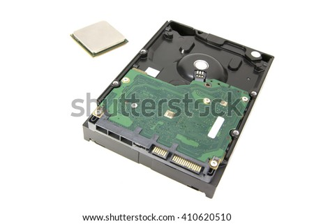 HDD (hard disk drive) and CPU (central processing unit) for storage data and processing isolated on white background - stock photo