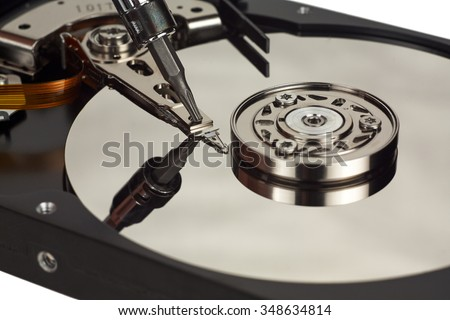 HDD open. The internal structure of the hard disk. Recorder