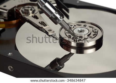 HDD open. The internal structure of the hard disk. Recorder close-up