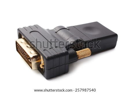 HDMI Female to DVI Male Video Adapter on white background - stock photo