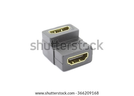 HDMI female to female adapter 90 degrees - stock photo