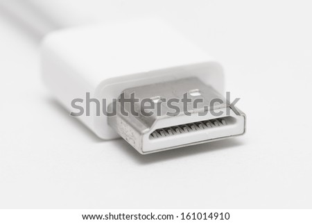 HDMI (High Definition Multimedia Interface) port and cable - stock photo