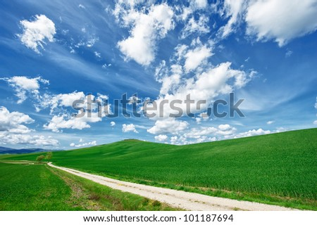hdr clouds in tuscany - stock photo