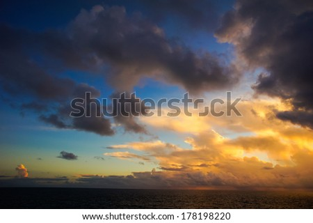 HDR Colred Sunrise Clouds over the Atlantic Ocean in Tenerife Canary Islands