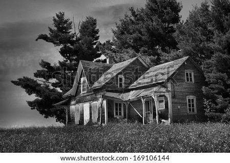 HDR, falling down old farm house - stock photo