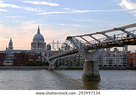 HDR - high dynamic range - of St Paul's Cathedral and Millennium Footbridge over the Thames. London UK  - stock photo