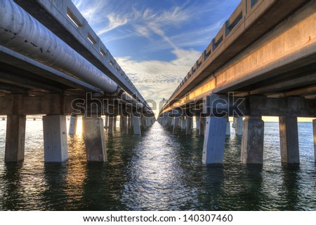 HDR image of a bridge in Key West Florida - stock photo