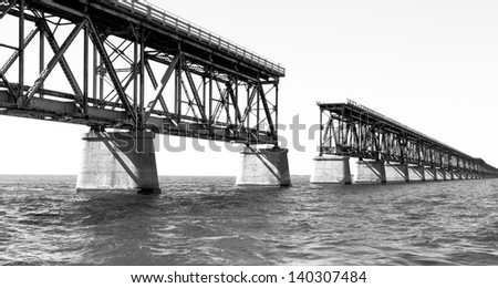 HDR image of a bridge in Key West Florida - collapsed bridge - stock photo
