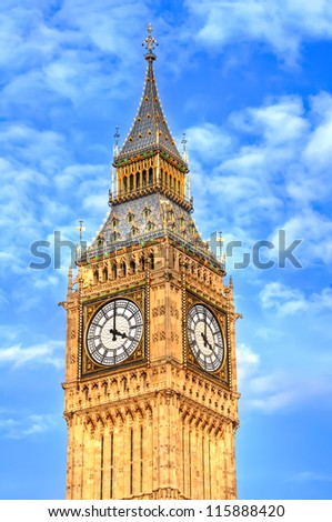 HDR  image of Big Ben showing the architectural details of the clock tower. - stock photo