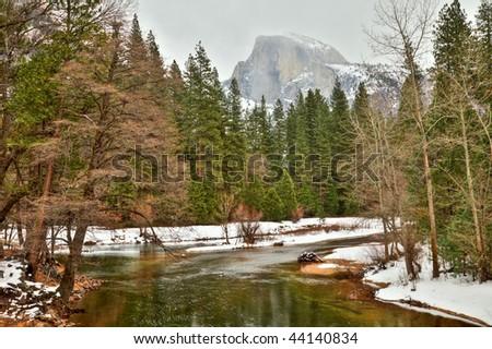 HDR Image of Half Dome in Yosemite National Park, California. - stock photo