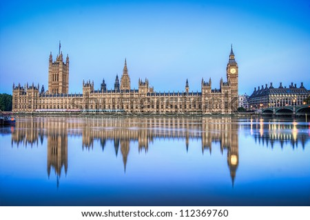 Hdr image of Houses of parliament england - stock photo