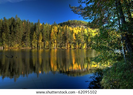 HDR Image of lake - stock photo
