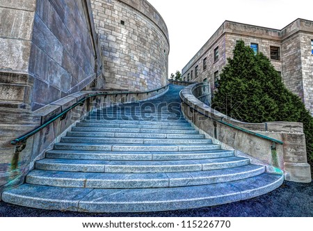 HDR Image of Staircase on the westside of St. Joseph's Oratory in Montreal. - stock photo
