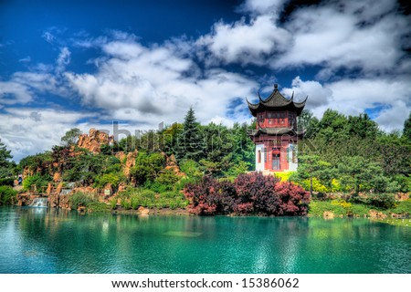 HDR image of the Chinese Garden of the Montreal Botanical Gardens