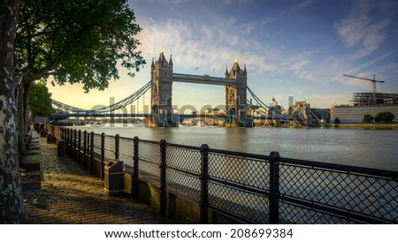 HDR image of Tower Bridge - stock photo