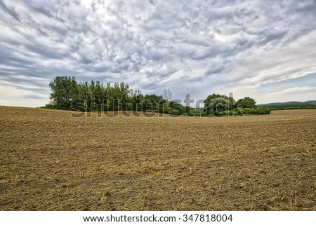 HDR landscape with arable land, forest and cloudscape