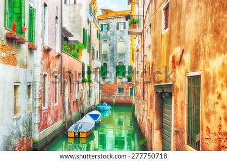 HDR - Narrow canal in Venice, Italy.  - stock photo