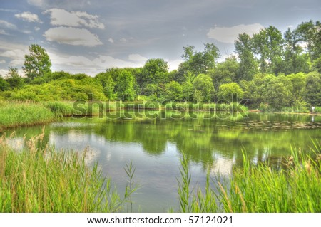 HDR of a Lake - stock photo