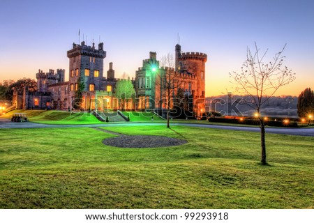 Hdr of Dromoland Castle during the night at sunset in west Ireland. - stock photo
