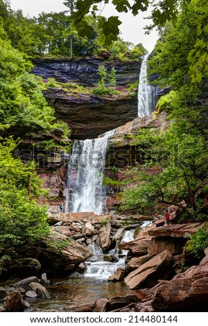 HDR of Kaaterskill Falls is a two-drop waterfall in eastern Catskill Mountains, New York, north  Kaaterskill Clove. The dual cascades total 260 ft (79 m) in height, one of the higher waterfalls in NY - stock photo