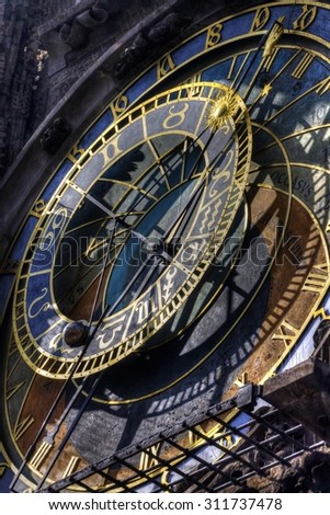 HDR photo of the famous Prague Astronomical clock at the Old towns square, Prague, Czech republic - stock photo