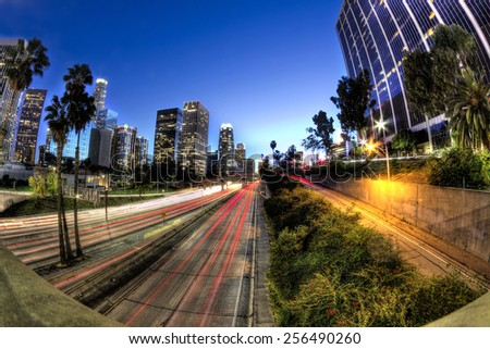 HDR scene of down town los angeles freeway and cityscape - stock photo