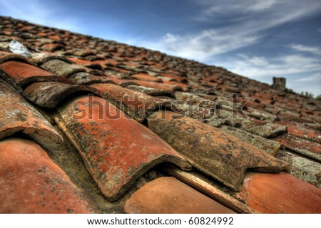 HDR shot from an old roof tiles - stock photo